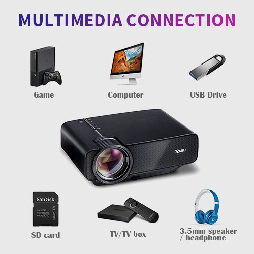 RAGU Z400 (2018 Upgraded) Projector, - For Low Budget