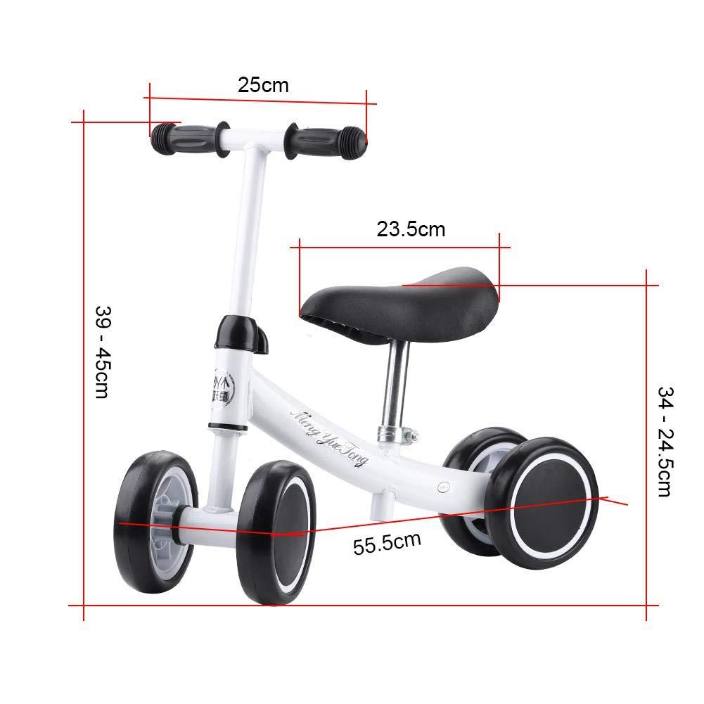 Balance Bike Ajustable Equilibrio Training Mini Bike Scooter Walker Scooter de Hierro para 1/ /2/a/ños Zerone Primera Bicicleta para ni/ña Sin