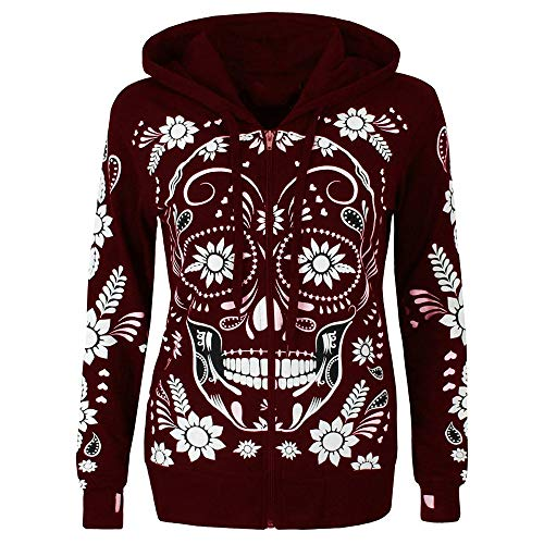 URIBAKE ❤ Women's Hooded Coat Autumn Winter Skull Print Plus Size Long Sleeve Zipper Blouse Pullover Tops Shirt Wine