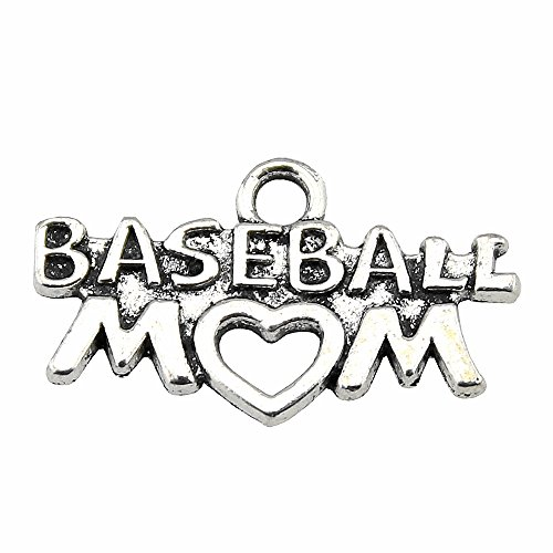 NEWME 25pcs baseball MOM Charms Pendant For DIY Jewelry Wholesale Crafting Bracelet and Necklace Making
