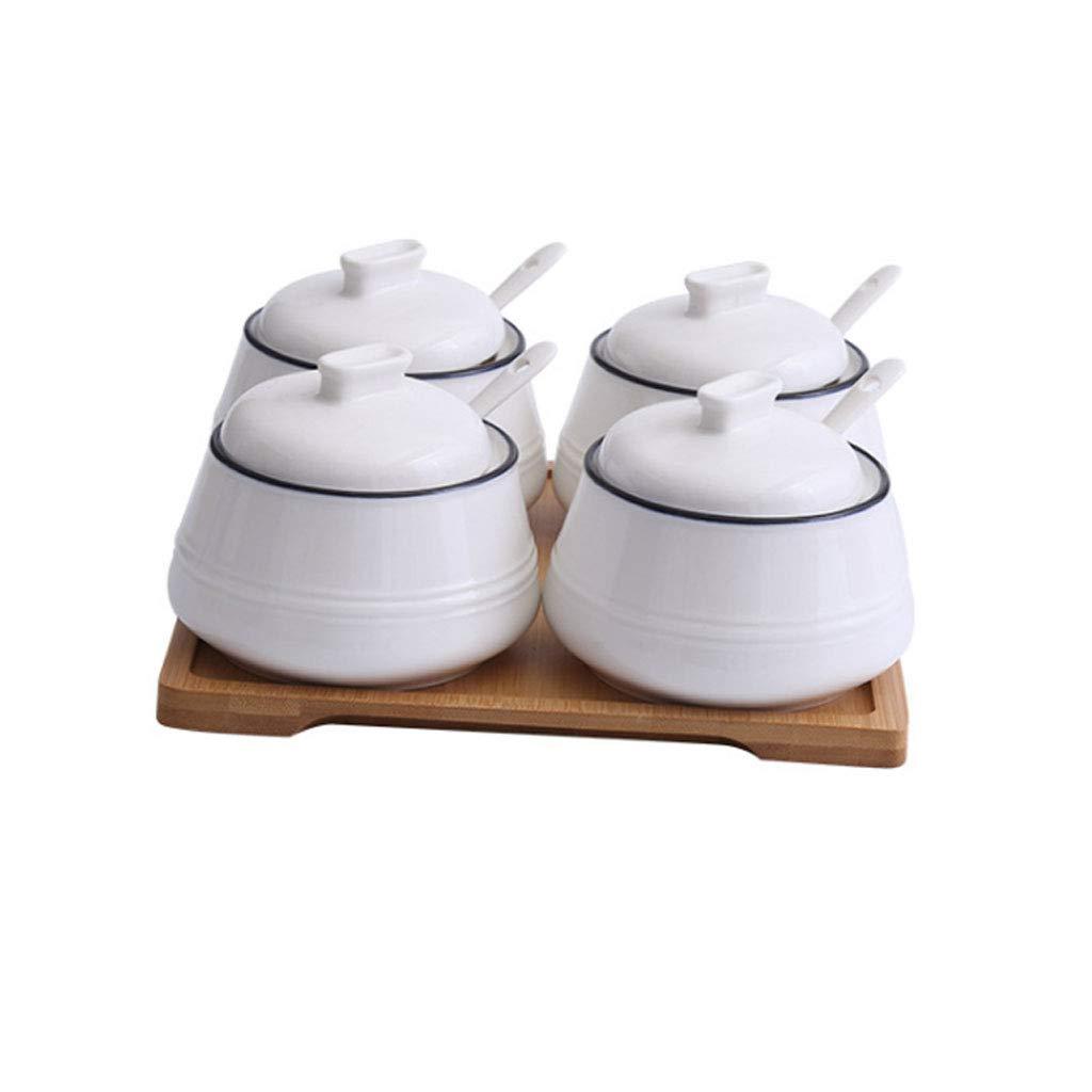 YHNUJMIK Pots /à /épices en c/éramique avec couvercles Conteneur avec cuill/ères de Service et Support en Bambou Fournitures de Cuisine Blanc Ensemble de 3 avec,2pieces