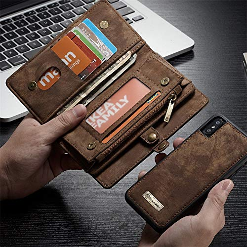 Price comparison product image Hot Tuscom 2-in-1 14 Slots Wallet Genuine Zip Detachable 2-in-1 Wallet for Apple iPhone Xs MAX, Solid Color Retro Genuine Split Leather Business Wallet(4 Colors) (Brown)