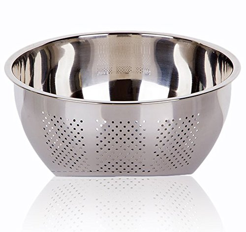 - Joyoldelf Stainless Steel Rice Washing Bowl, Versatile 3-In-1 Colander and Kitchen Strainer with Side Drainers for Rice, Vegetables & Fruit
