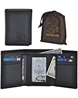 RFID Leather Trifold Wallets for Men - Handmade...