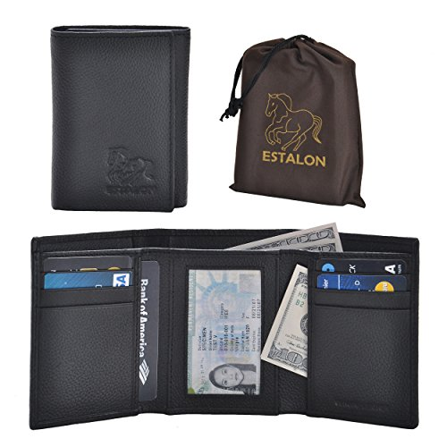 RFID Leather Trifold Wallets for Men - Handmade Slim Mens Wallet 6 Credit Card ID Window and Gift Box Secure by Estalon (3.5x4.4x0.75, Black Pebble Dustbag)