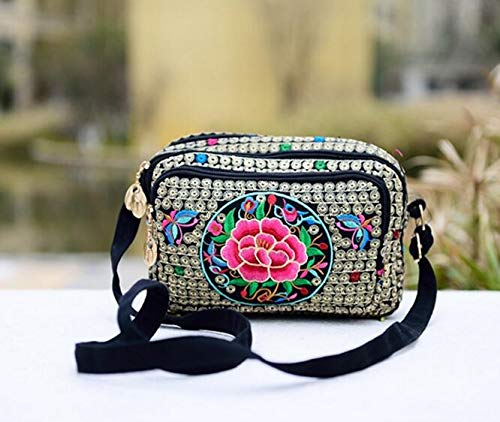 Red Florals Embroidery Women Small Shoulder Bags Messenger Purse Satchel Tote Handbags