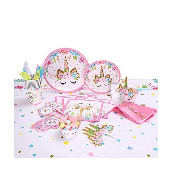 GONGYIHONG Unicorn Birthday Party Supplies Set, Serves 16, Colorful 6