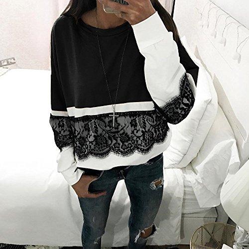 Impiombato Moda Primavera con Pizzo Autunno Casual Donna B Patchwork di Tops Colletto S Camicetta Elegante Camicia Rotondo Sciolto Manica Shirt e Lunga XL nero Colore xXwFfX