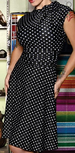 Folter Clothing BRIDGET BOMBSHELL DRESS in Black & White Polka Dots- Large