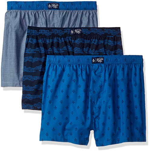 Original Penguin Men's Fashion 3 Pack Woven Boxers, Medieval Blue Plaid Snorkel Blue Pewter Chambray/Multi, ()