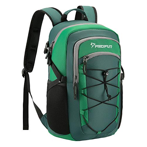 Piscifun Insulated Cooler Backpack, Leakproof Lightweight Cooler Bag, Soft Backpack Cooler for Men and Women Bag Cooler for Lunch, Picnic, Fishing, Hiking, Camping,Park, Day Trip Green
