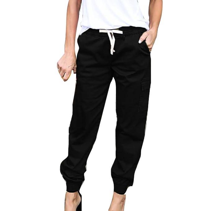 5fd0fb0ed Mujer Pantalones Lápiz - Color Sólido Cintura Elástico Leggings con Cordón  Moda Cintura Media Bolsillos Casual Capris Pies Estrechos Pantalón
