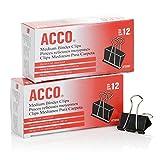 ACCO Binder Clips, Medium, 12 / Box, 2 Pack (A7072050)