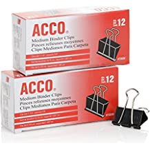 ACCO Binder Clips, Medium, 2 Boxes, 12/Box (A7072050)