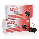 #5: ACCO Binder Clips, Medium, 2 Boxes, 12/Box (A7072050)