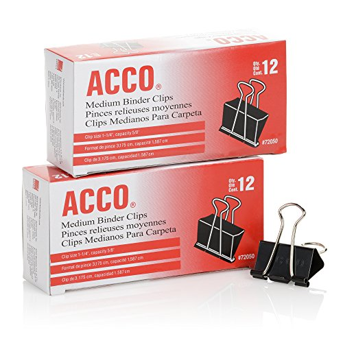 ACCO Binder Clips, Medium, 2 Boxes, 12/Box (A7072062) (Medium Clips Binder)