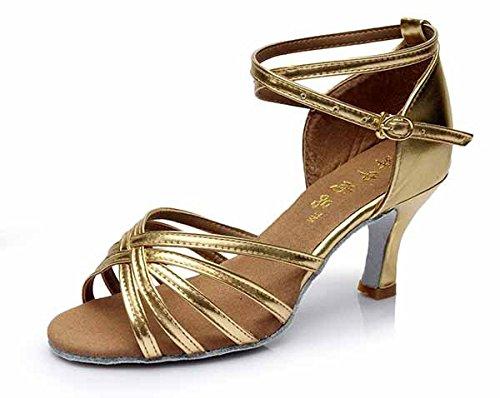 YFF Neue Women's Ballroom Latin Tango Schuhe 5 cm und 7 cm hohem Absatz,Gold 7 cm,7.