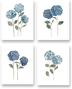 """Watercolor Blue Flower Art Print--Blossom Hydrangea Floral Canvas Wall Art--(8""""X10""""X4 pieces, Unframed)--Perfect for Living Room Girls Bedroom Decoration"""