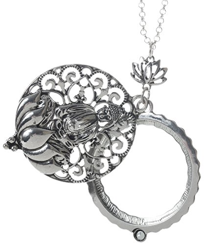 Artisan Owl Buddha and Lotus Flower 4X Magnifier Magnifying Glass Sliding Top Magnet Pendant Necklace, 30