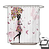 Girls Shower Curtain Customized Girl with Floral Umbrella and Dress Walking with Butterflies Inspirational Art Print Bathroom Accessories W72 x L84 Pink Black