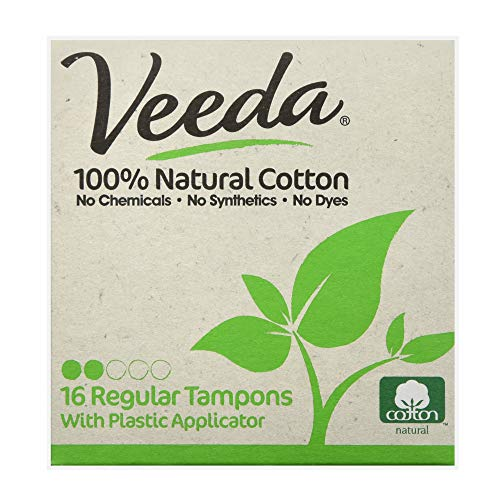 Veeda Natural All-Cotton Tampons, Regular, Compact Applicator, 16 Count