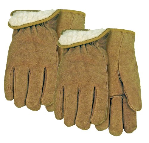 MidWest Gloves and Gear Midwest Gloves and Gear 430PLP02-B-AZ-6 Acrylic Pile Suede Cowhide Work Glove, Small, 2-Pack