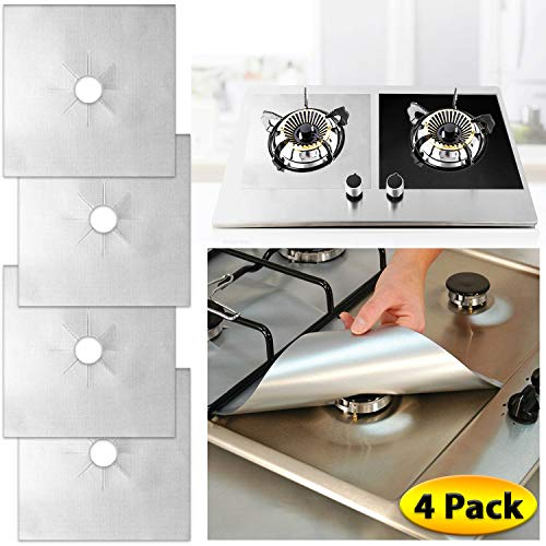Gas Range Stove Burner Covers (4 Pack Set) Heat-Resistant, Non-Stick Cooking Surface Protectors   PTFE-Coated Fiberglass   Reusable, Easy Clean Kitchen Accessory (Silver)