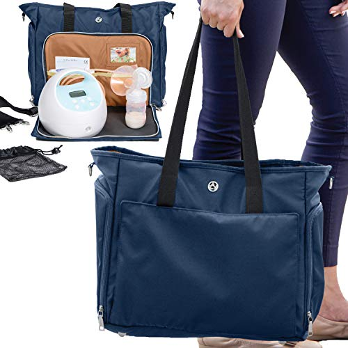 Zohzo Lauren Breast Pump Bag - Portable Tote Bag Great for Travel or Storage - Includes Padded Laptop Sleeve - Fits Most Major Brands Including Medela and Spectra (Navy)