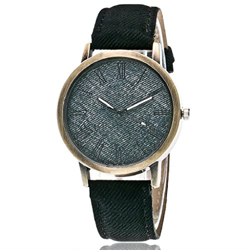 Quartz Wrist Watch,Hosamtel Couple's Delicate Denim Strap Analog Bracelet Watches (Black)