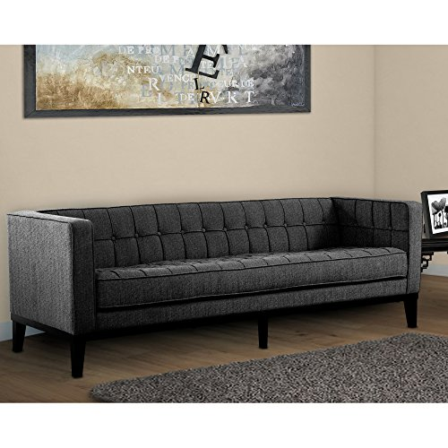 Armen Living LC10103CH Roxbury Sofa in Charcoal Fabric and Black Wood Finish