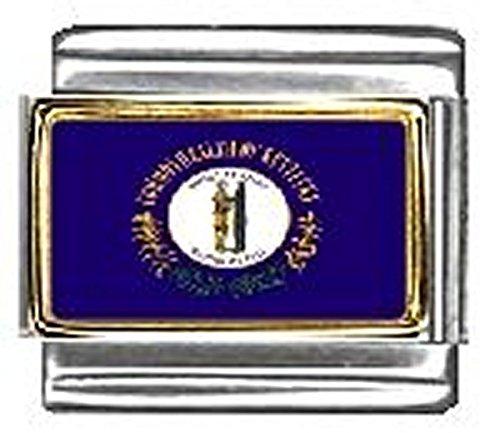 State of Kentucky Photo Flag Italian Charm Bracelet Jewelry Link 9mm