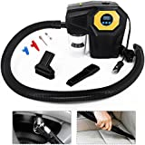 Digital LED Diplay 4 in 1 Handheld Car Vacuum Cleaner DC 12v 120W for Air Compressor Pump, Tire Pressure, Bright LED Light, Wet and Dry Car Hoover - Strong Suction with 16.4FT (5M) Power Cord