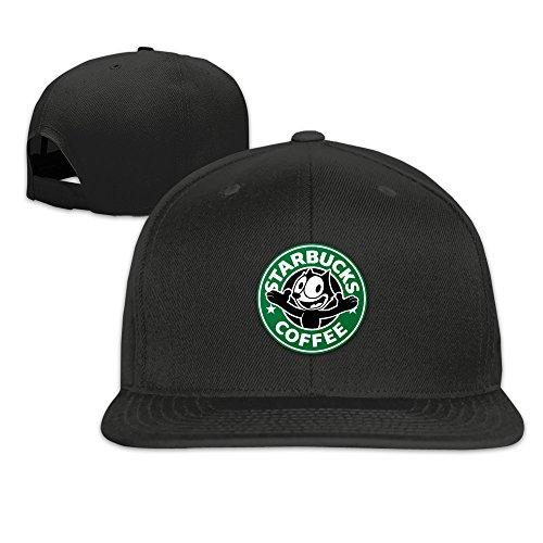 Price comparison product image Starbucks Logo With Felix The Cat Snapback Adjustable Hat One Size--Black