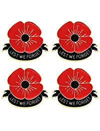 CAROMAY 4 PC Women Poppy Brooches Red Flower Lapel Pins Girls Breastpin Remembrance Memorial Veterans Day Gift Lest We Forget
