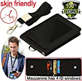 #1: Badge Holder,Name Tags with Lanyard PU Leather ID Badge Holders ,Name Holder Vertical Badges 1 ID Window, 4 Card Slots, 1 piece 19