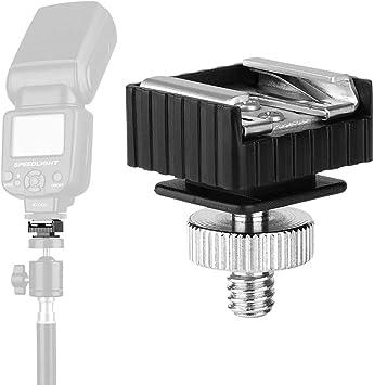 Pandamama Camera Metal Hot Shoe Mount Adapter to 1//4 Screw Thread for Studio Light Tripod Lamp Holder Flash Adapter