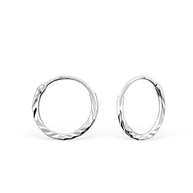 8acbd4e18 Small Diamond Cut Sterling Silver Sleeper Hoop Earrings by Kate Benson,  Size: 12mm: Amazon.co.uk: Jewellery