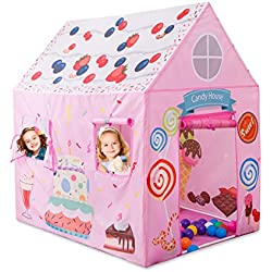 Anyshock KidsPlay Tent Princess Playhouse Castle Tent Birthday Cake Tent for Girls Indoor & Outdoor Kids Play Tent House Toy, Big Enough for 2-3 Little Kids Best Gifts for 1-8 years old Kids/boy/girl