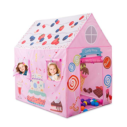 Anyshock Kids Play Tent Princess Playhouse Castle Tent Birthday Cake Tent for Girls Indoor & Outdoor Kids Play Tent House Toy, Big Enough for 2-3 Little Kids Best Gifts for 1-8 years old Kids/boy/girl
