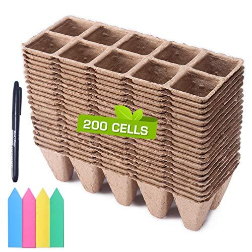 Macetas biodegradables plantines 20 Pack-200 celdas total