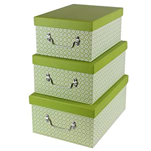 Superior JVL High Quality Grade Cardboard Retro Decorative Lidded Storage Boxes With  Metal Handles, Set Of 3, Green