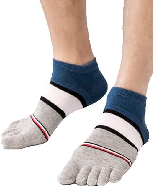 HYZ Hombres Raya de Cinco Dedos Tubo Calcetines de algodón Transpirable Corta Ocasional del Dedo del pie Calcetines Salvaje Primavera y otoño algodón Sudor Calcetines Color de los Cordones Paquete: Amazon.es: Hogar