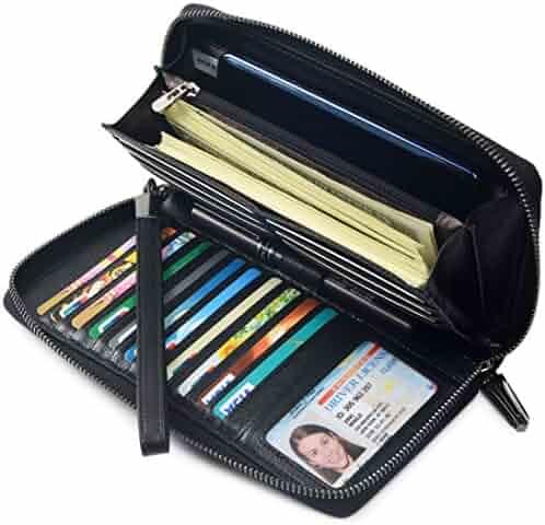 Women RFID Blocking Wallet Leather Zip Around Clutch Large Travel Purse Wrist Strap