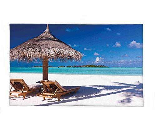 - Interestlee Fleece Throw Blanket Landscape Island Caribbean Honeymoon Themed Beach Seashore Ocean Print White Light Brown and Turquoise