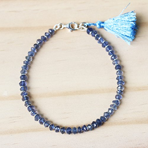 - Iolite beads bracelet and light blue color cotton tassel with sterling silver lobster clasp closer