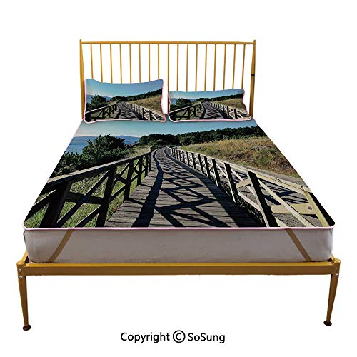 Beach Creative Queen Size Summer Cool Mat,Wooden Pathway by Sea Bridge Placid Quiet Alone Time Plants Tree Healing Print Sleeping & Play Cool Mat,Green Brown Blue