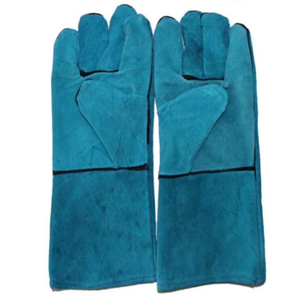Guantes De Soldadura De Largo Azul Grueso Doble Trabajo Industrial Soldador: Amazon.es: Deportes y aire libre
