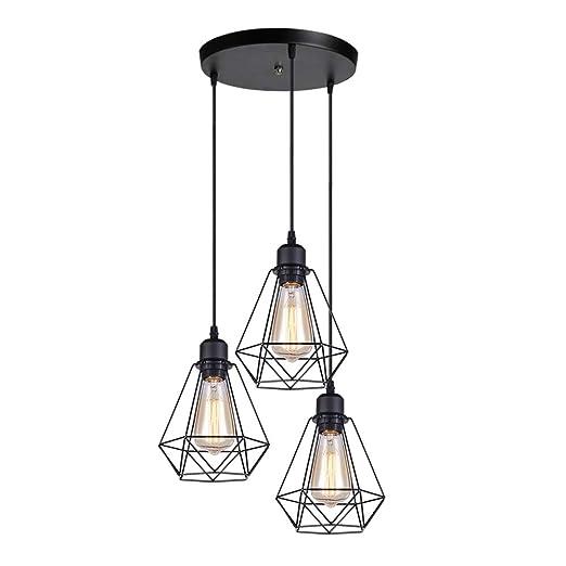 Lámparas Colgante Vintage 3 Luces, iDEGU Lámparas de Techo ...