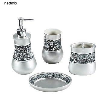 Bathroom Accessories Set Modern Crackled Glass Nickel 4 Piece