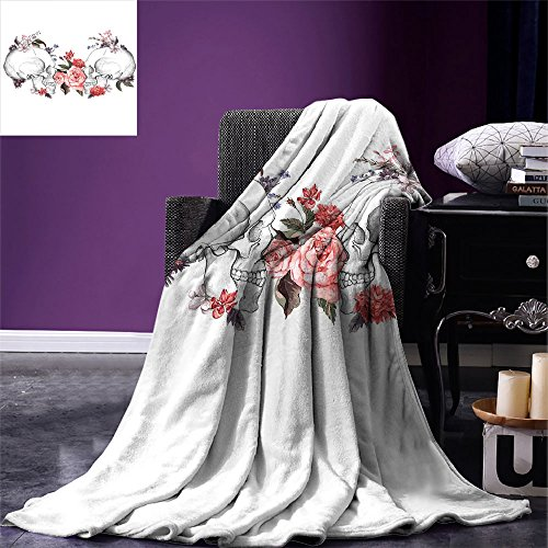 smallbeefly Gothic Decor Custom Design Cozy Flannel Blanket Roses and Skull Feast of All Saints Catholic Tradition Illustration Art Print Lightweight Blanket Extra Big by smallbeefly